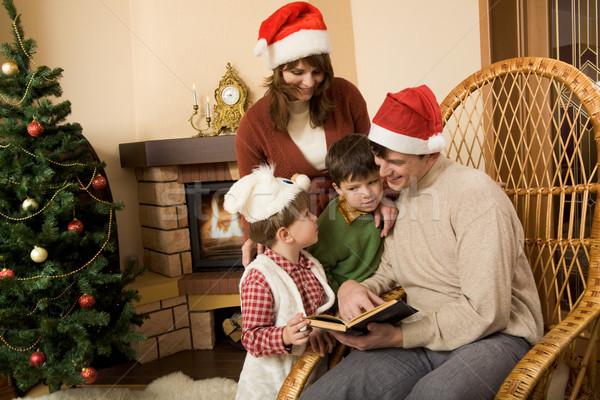 Zdjęcia stock: Rodziny · czytania · portret · uśmiechnięty · człowiek · książki