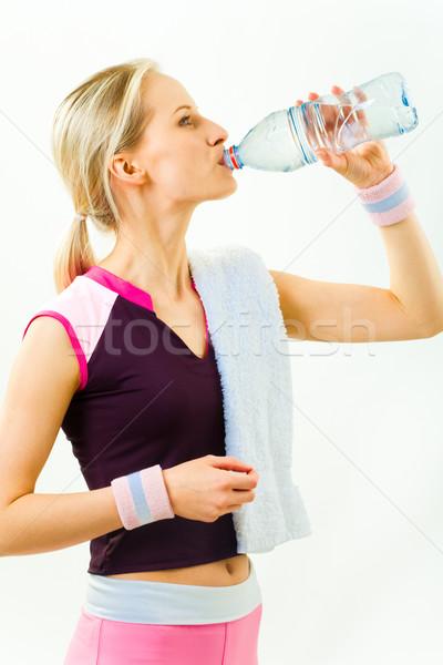 渇き 写真 少女 立って プロファイル 飲料水 ストックフォト © pressmaster