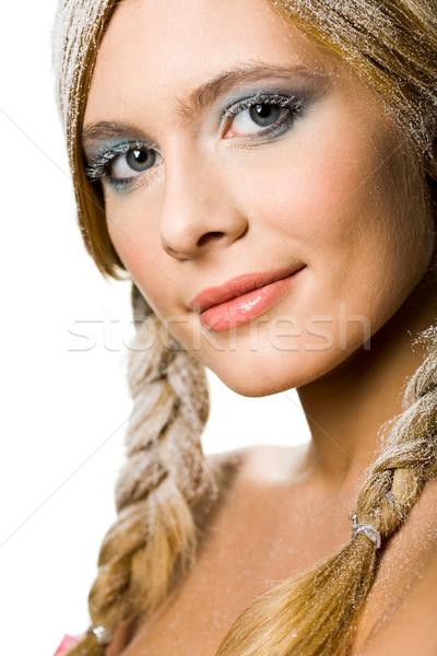 Stockfoto: Winter · meisje · mooie · blond · ingericht · sneeuw
