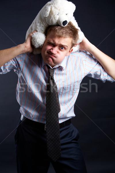 Stock fotó: Kemény · munka · portré · fiatalember · hordoz · puha · plüssmaci