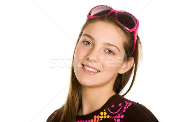 Photo stock: Joli · fille · visage · regarder · caméra · sourire