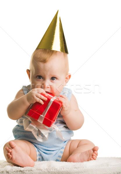 Baby with giftbox Stock photo © pressmaster