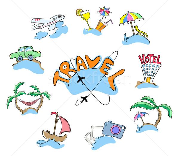 Foto stock: Coleção · ícones · viajar · praia · casa · carro