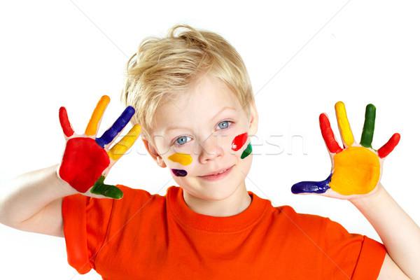 Coloré lad garçon regarder caméra palmiers Photo stock © pressmaster