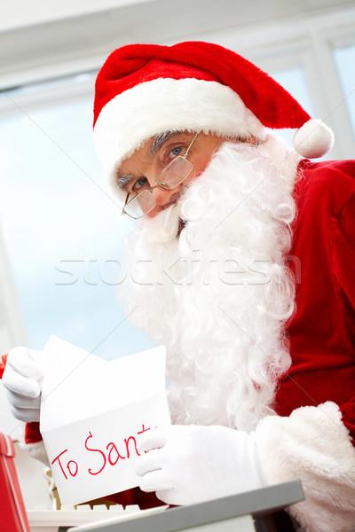 ストックフォト: 開設 · クリスマス · 手紙 · 写真 · 幸せ · サンタクロース