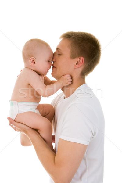 Genegenheid portret liefhebbend vader baby knuffelen Stockfoto © pressmaster