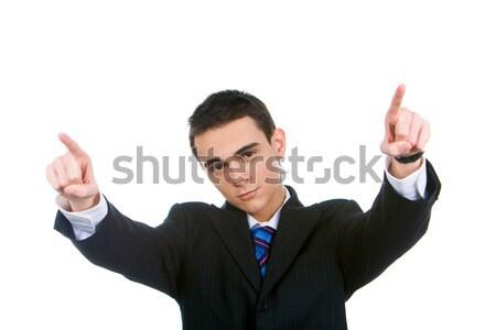 Portré sikeres fickó mutat kamera nyújtott Stock fotó © pressmaster
