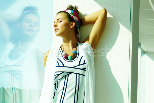 Сток-фото: роскошный · женщину · красивая · женщина · одежды · моде