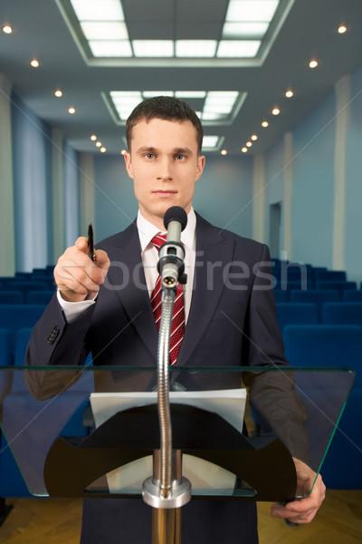 Előadó portré sorok mögött konferencia előcsarnok Stock fotó © pressmaster