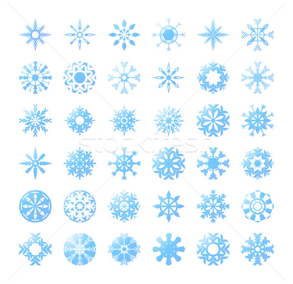 thirty six blue snowflakes Stock photo © pressmaster
