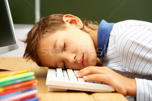 Nudny lekcja portret cute chłopak snem Zdjęcia stock © pressmaster