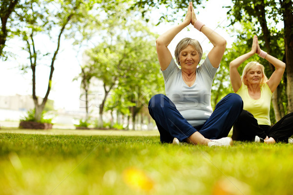 Energia portré jóga testmozgás zöld fű Stock fotó © pressmaster