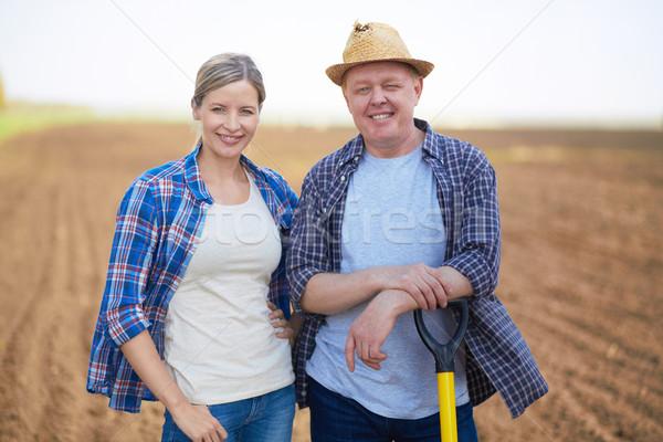 ストックフォト: 2 · 農民 · 画像 · 幸せ · 背景 · 夏
