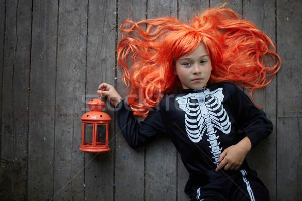ハロウィン 少女 肖像 かわいい 赤 かつら ストックフォト © pressmaster