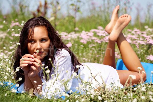 Stockfoto: Ontspannen · jonge · vrouw · meisje · gras · zomer