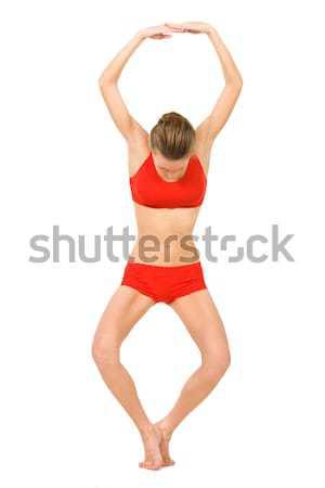 Aantal acht afbeelding jong meisje oefenen oefening Stockfoto © pressmaster