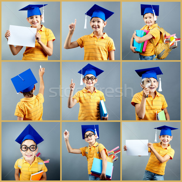 Inteligentes chico colección graduación CAP Foto stock © pressmaster