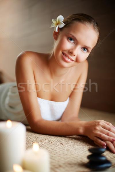 Foto stock: Beleza · harmonia · retrato · jovem · feminino · pronto