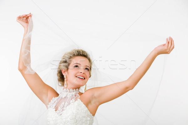 Glücklich Verlobte schönen Hände Schleier Frau Stock foto © pressmaster