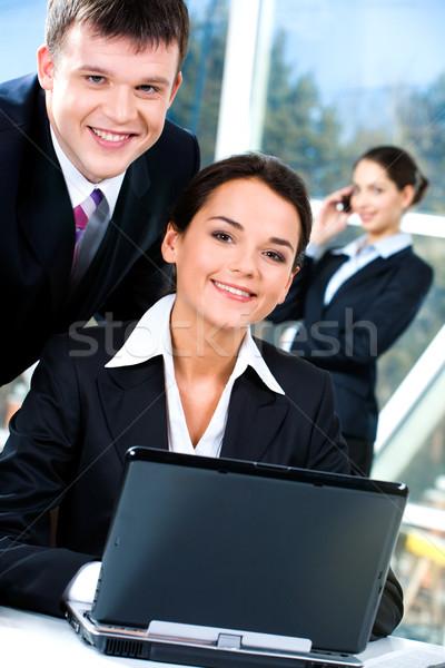 Stock fotó: Kettő · üzletemberek · portré · néz · kamera · együtt
