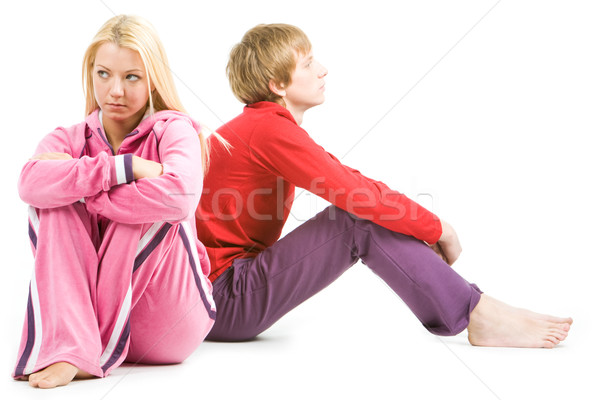 Ruzie afbeelding triest meisje verward vent Stockfoto © pressmaster