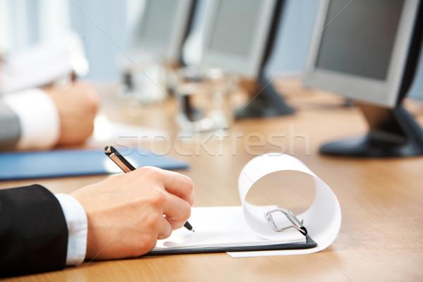 Stockfoto: Afbeelding · menselijke · hand · pen · merkt