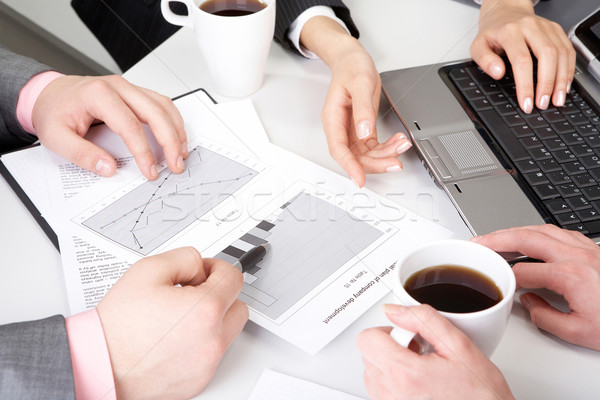 Stock fotó: új · stratégia · kép · dolgozik · iratok · üzleti · megbeszélés