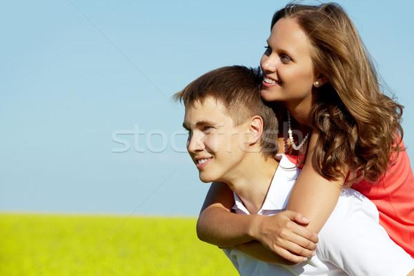 Stok fotoğraf: çift · güzel · kız · yakışıklı · erkek · arkadaş