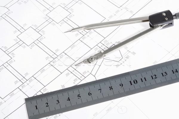 Stock fotó: Mérnöki · munka · közelkép · tervrajzok · projektek · munkahely