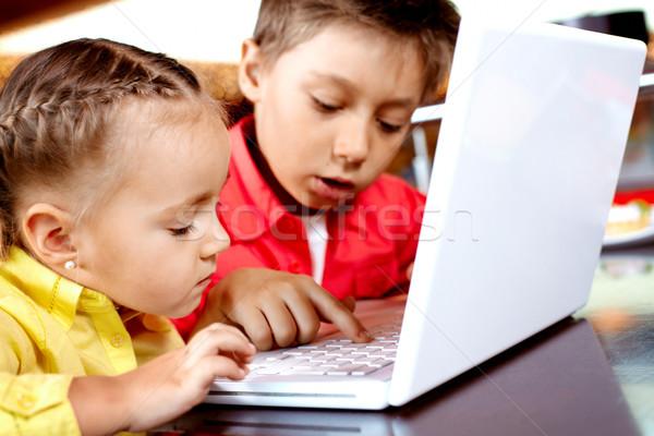 Foto stock: Datilografia · retrato · bonitinho · crianças · laptop · computador