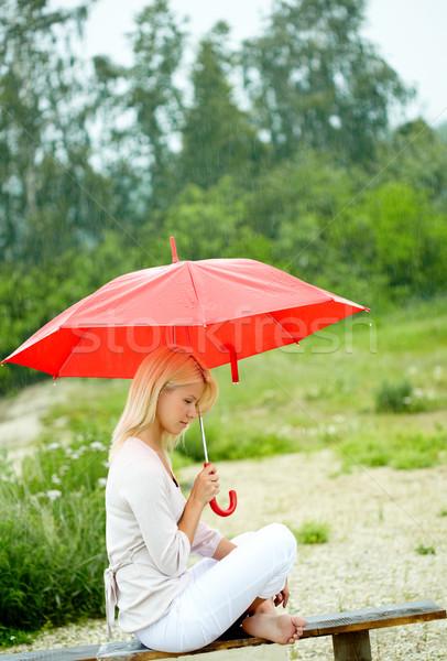 Kız şemsiye portre üzücü genç kız oturma Stok fotoğraf © pressmaster