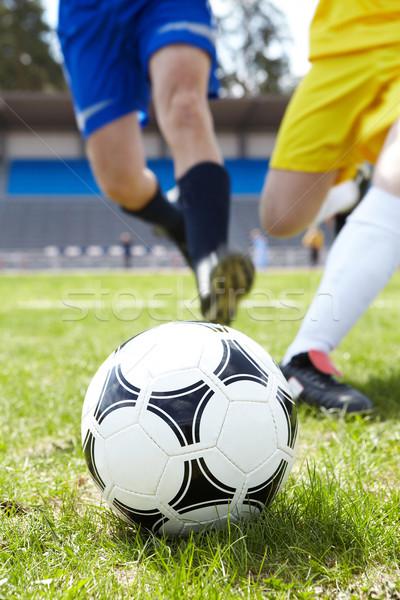 Stock fotó: Futballabda · kép · zöld · fű · futball · sport · futball