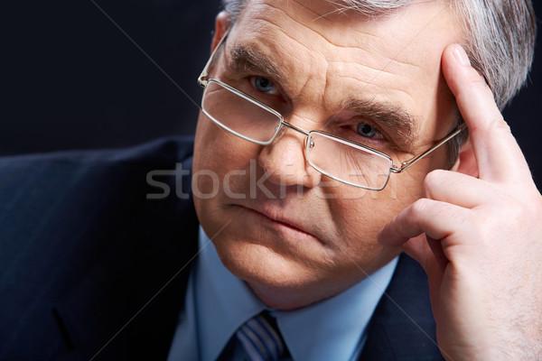 Zamyślony człowiek Fotografia starszy pracodawca myślenia Zdjęcia stock © pressmaster