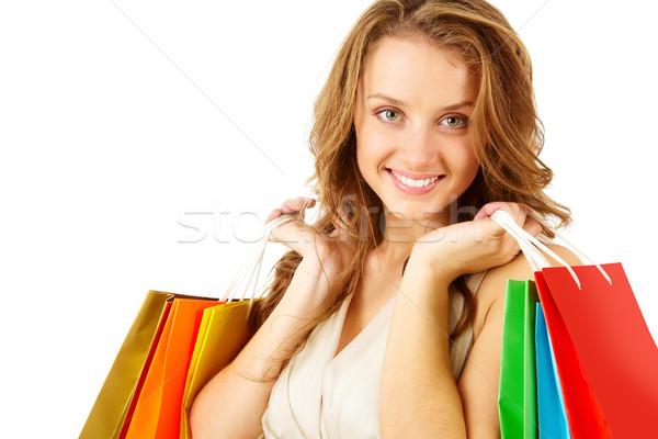 Consument meisje naar camera Stockfoto © pressmaster