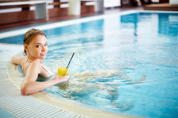 Foto d'archivio: Fresche · tempo · bella · ragazza · rilassante · piscina