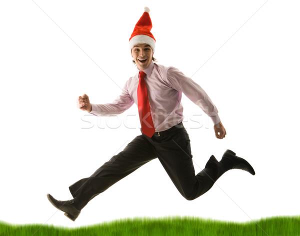 Running down green grass Stock photo © pressmaster