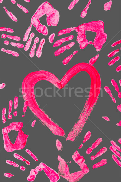 Stok fotoğraf: Kalp · avcılık · fotoğraf · boyalı · insan · avuç · içi
