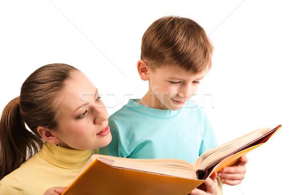 Foto stock: Leitura · juntos · retrato · atento · mãe · filho