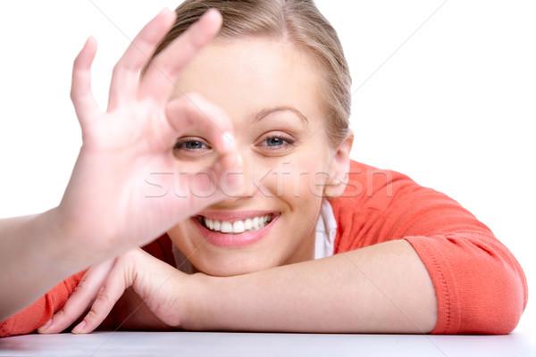 Eğlence portre sarışın kadın bakıyor kamera Stok fotoğraf © pressmaster