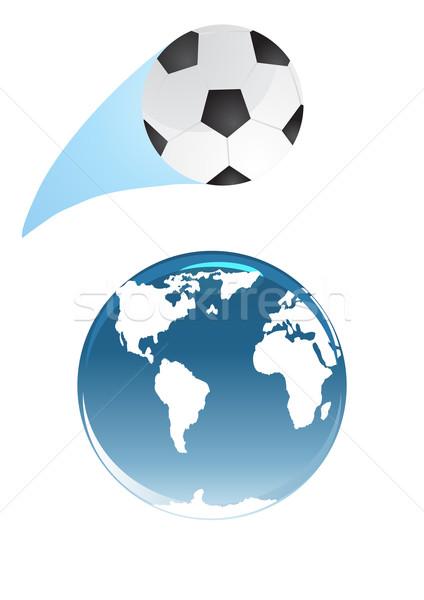 Stockfoto: Voetbal · aarde · wereldbol · voetbal · abstract · wereld