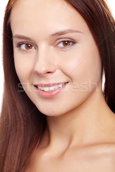 Stock fotó: Női · káprázatos · nő · néz · kamera · mosoly