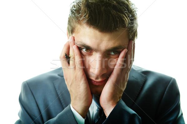 Problémás üzletember portré vonzó férfi megérint Stock fotó © pressmaster