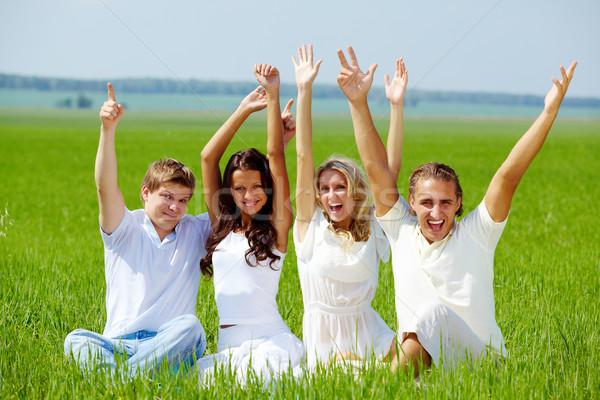 Prazer retrato feliz meninas caras sessão Foto stock © pressmaster