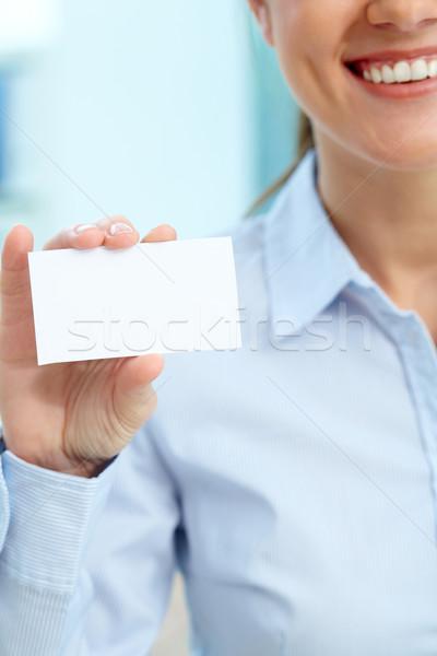 üres kártya függőleges kép üzletasszony mutat üzlet Stock fotó © pressmaster