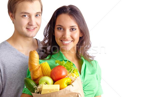 Stock fotó: Egészséges · boldog · egészséges · étkezés · néz · kamera · család