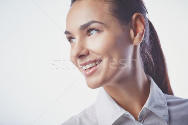 Derűs lány gyönyörű női természetes smink Stock fotó © pressmaster