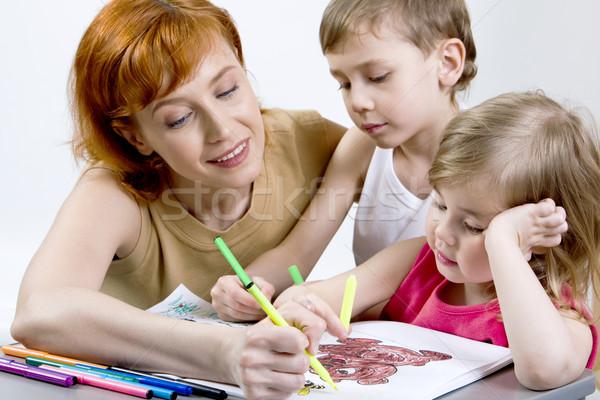 Stok fotoğraf: Anne · çocuklar · güzel · akıllı · oğul · kız