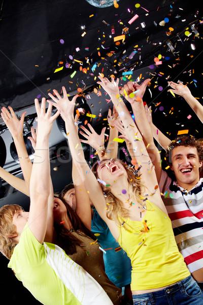 Szórakozás fotó izgatott tinédzserek konfetti buli Stock fotó © pressmaster
