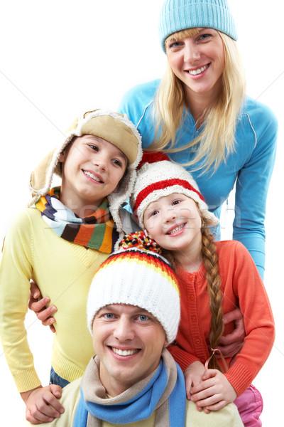 Családi portré boldog család néz kamera mosolyog család Stock fotó © pressmaster