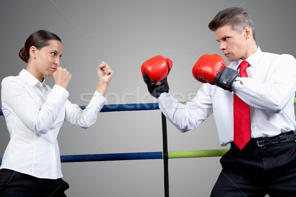 Verseny portré agresszív üzletember boxkesztyűk komoly Stock fotó © pressmaster